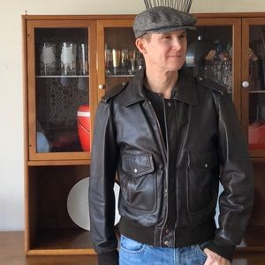 Vintage Men's Brown Leather Jacket Fall Winter